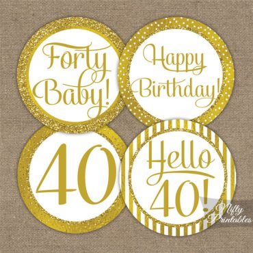 40th Birthday Toppers - Gold Cupcake Toppers