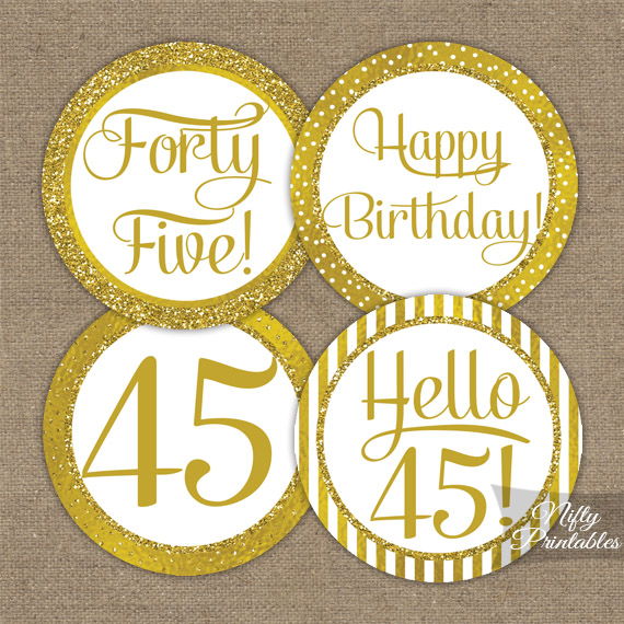 45th Birthday Toppers - Gold Cupcake Toppers