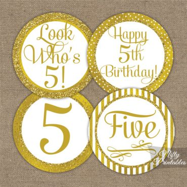 5th Birthday Toppers - Gold Cupcake Toppers