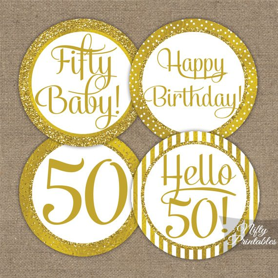 50th Birthday Toppers - Gold Cupcake Toppers