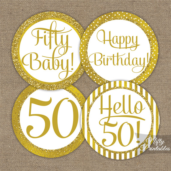 50th Birthday Toppers Gold Cupcake