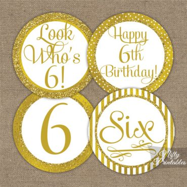 6th Birthday Toppers - Gold Cupcake Toppers