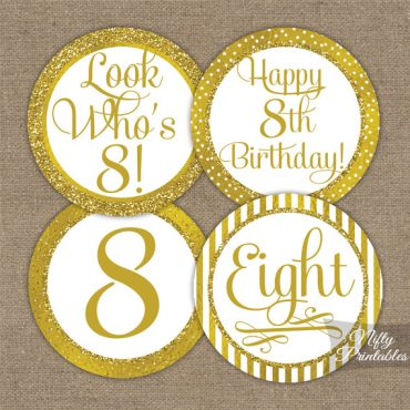 8th Birthday Toppers - Gold Cupcake Toppers