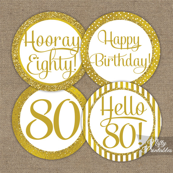 80th birthday toppers gold cupcake toppers nifty for 80th birthday decoration