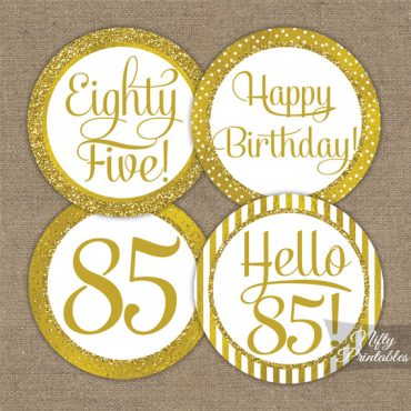 85th Birthday Toppers - Gold Cupcake Toppers