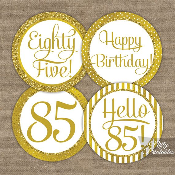 85th Birthday Toppers Gold Cupcake