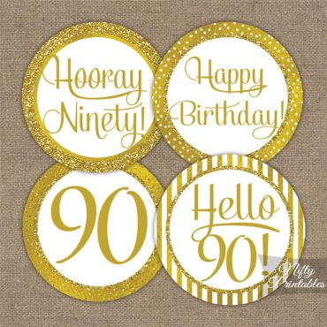 90th Birthday Toppers - Gold Cupcake Toppers