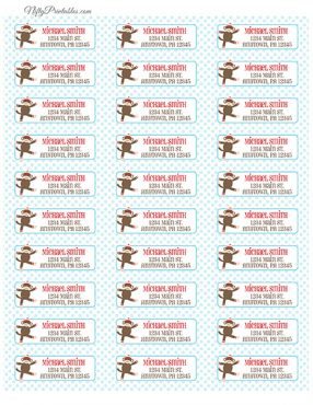 Printable Address Labels - Sock Monkey - Avery Compatible