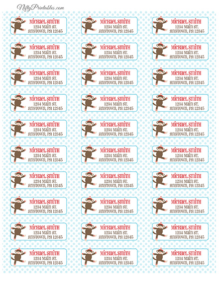 Printable Address Labels - Sock Monkey - Avery Compatible