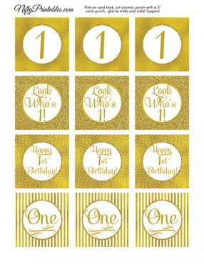 1st Birthday Toppers - Gold Cupcake Toppers