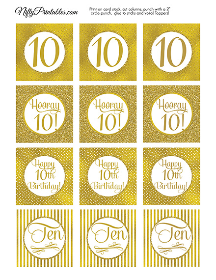 10th Birthday Toppers - Gold Cupcake Toppers