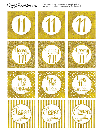 11th Birthday Toppers - Gold Cupcake Toppers
