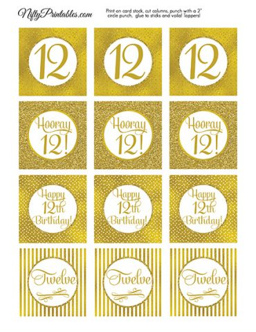 12th Birthday Toppers - Gold Cupcake Toppers