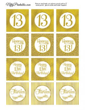 13th Birthday Toppers - Gold Cupcake Toppers