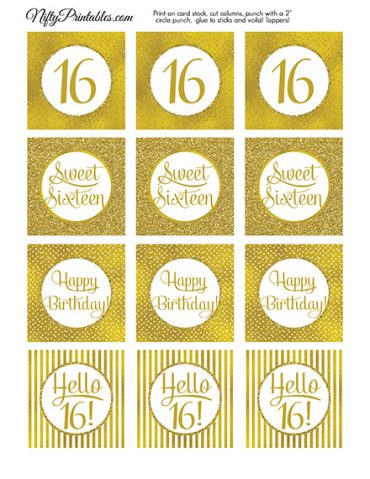 16th Birthday Toppers - Gold Cupcake Toppers