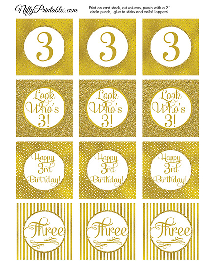 3rd Birthday Toppers - Gold Cupcake Toppers