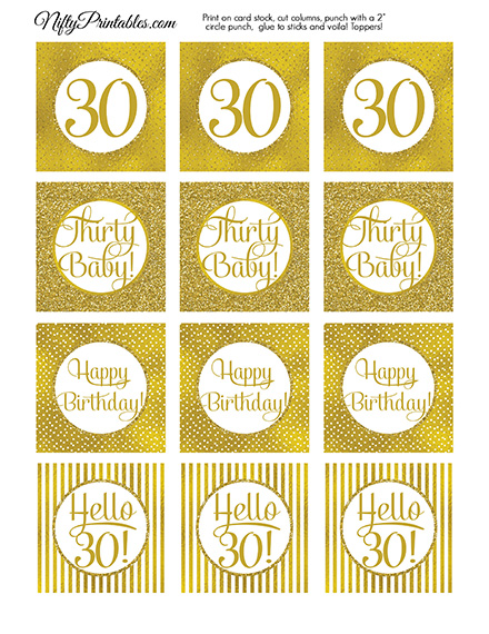 30th Birthday Toppers - Gold Cupcake Toppers