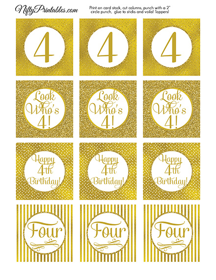 4th Birthday Toppers - Gold Cupcake Toppers