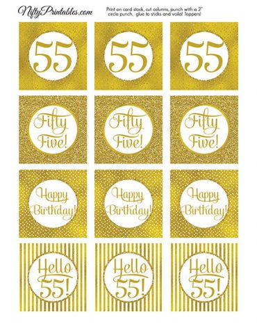 55th Birthday Toppers - Gold Cupcake Toppers