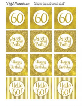60th Birthday Toppers - Gold Cupcake Toppers