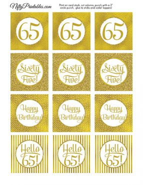 65th Birthday Toppers - Gold Cupcake Toppers