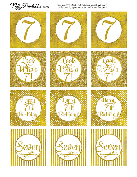 7th Birthday Toppers - Gold Cupcake Toppers