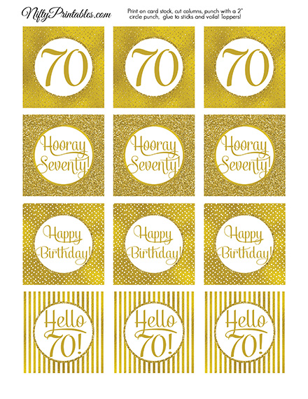 70th Birthday Toppers - Gold Cupcake Toppers