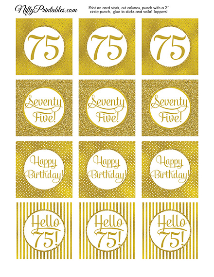 75th Birthday Toppers - Gold Cupcake Toppers