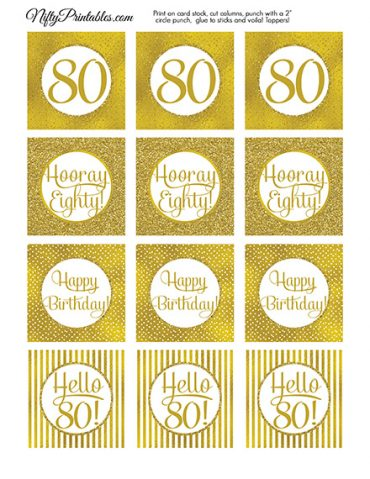 80th Birthday Toppers - Gold Cupcake Toppers