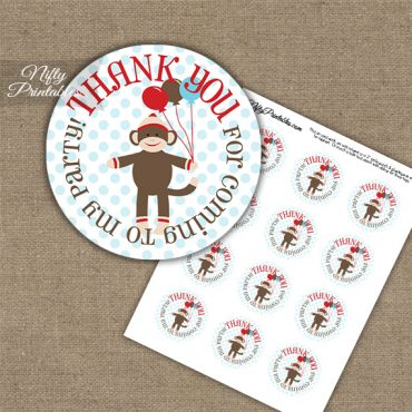Thank You For Coming Favor Tags - Sock Monkey Birthday