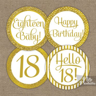18th Birthday Toppers - Gold Cupcake Toppers