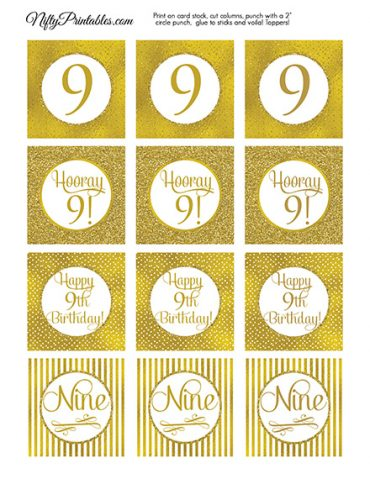 9th Birthday Toppers - Gold Cupcake Toppers