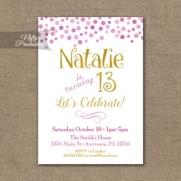 Pink Gold Confetti Birthday Invitation - Teen Tween Invitations
