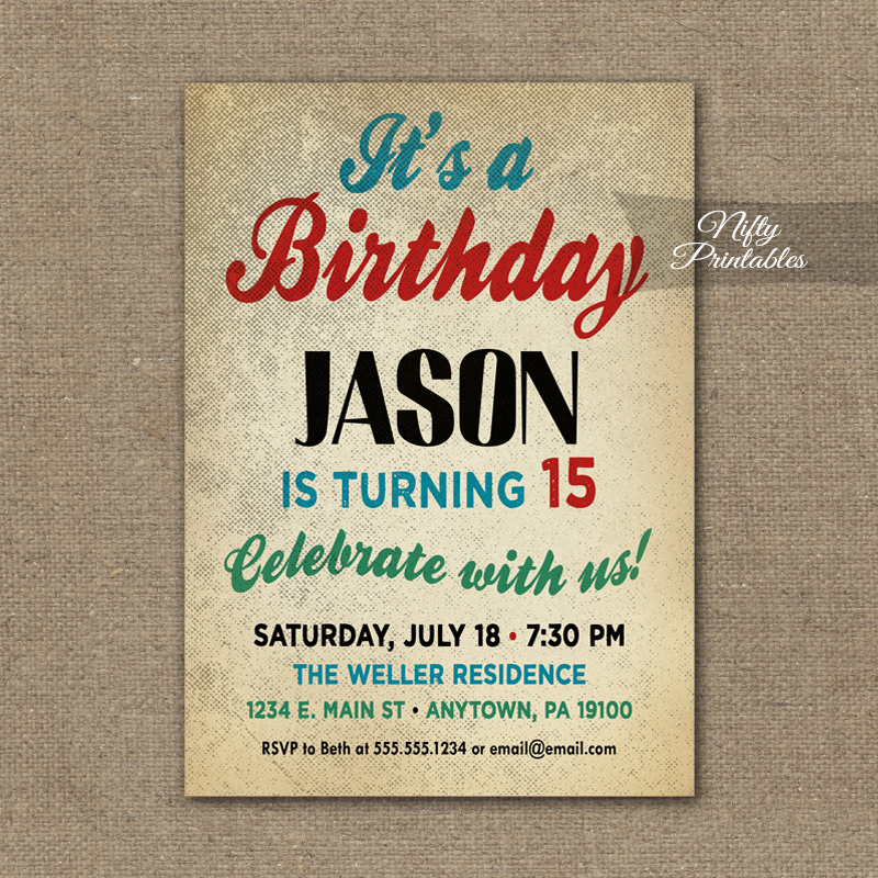 Teen Boys Birthday Invitation - Teen Tween Invitations ...