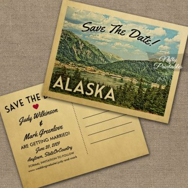 Alaska Save The Date Mountains PRINTED