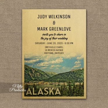 Alaska Wedding Invitation Mountains PRINTED