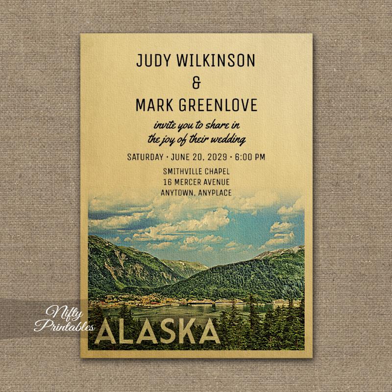Alaska Wedding Invitation Mountains PRINTED