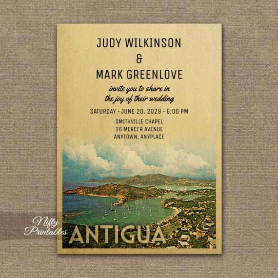 Antigua Wedding Invitation PRINTED