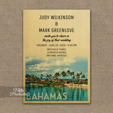 Bahamas Wedding Invitation PRINTED