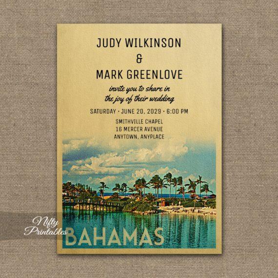 Bahamas Wedding Invitation PRINTED