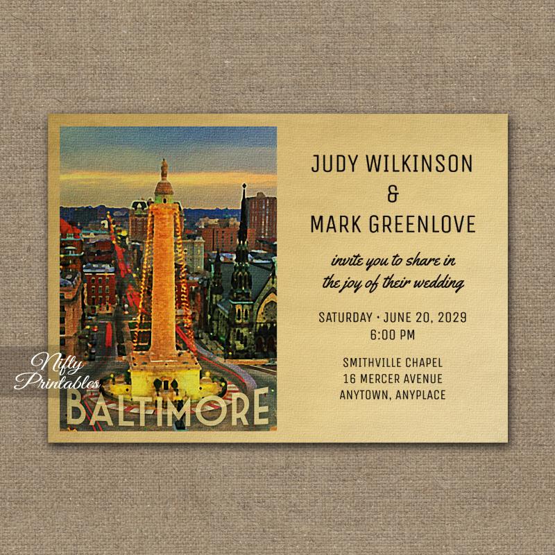 Baltimore Wedding Invitation PRINTED