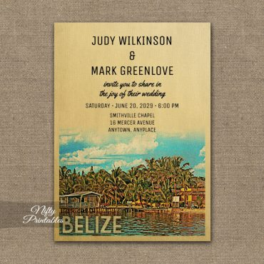 Belize Wedding Invitation PRINTED