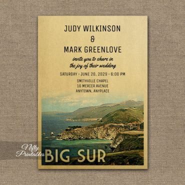 Big Sur Wedding Invitation PRINTED