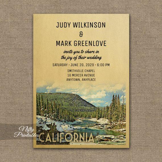 California Wedding Invitation Snow Nature PRINTED
