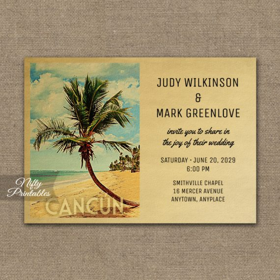 Cancun Wedding Invitation Palm Tree PRINTED