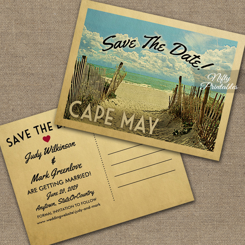 Cape May Save The Date Beach PRINTED