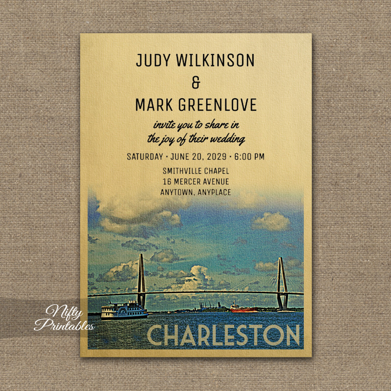 Charleston Wedding Invitation PRINTED