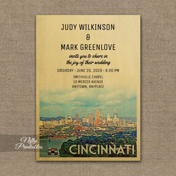 Cincinnati Wedding Invitation PRINTED