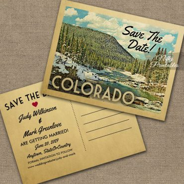 Colorado Save The Date Snowy Nature PRINTED