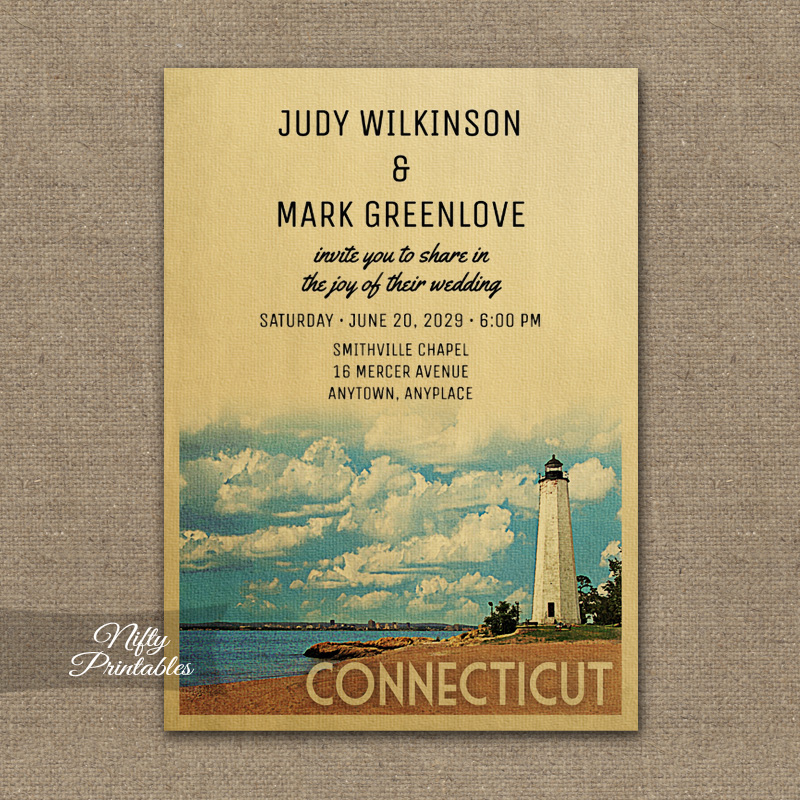 Connecticut Wedding Invitation PRINTED